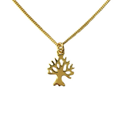 Wholesale Gold Over Sterling Silver Tree Silhouette Charm Necklace -16""