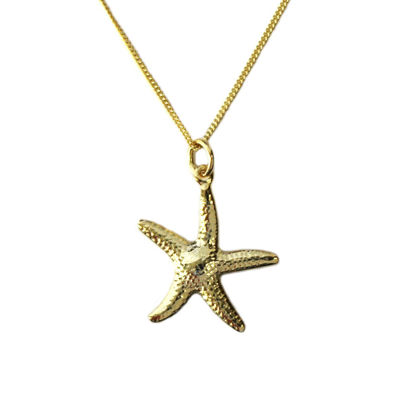 Wholesale Gold Over Sterling Silver Starfish Charm Necklace -16""