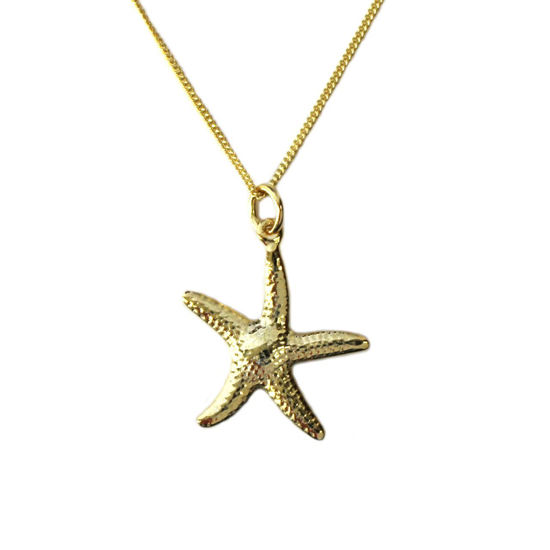 """Wholesale Gold Over Sterling Silver Starfish Charm Necklace -16"""""""