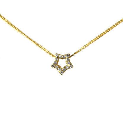 Wholesale Gold Over Sterling Silver CZ Stone Star Charm Necklace -16""
