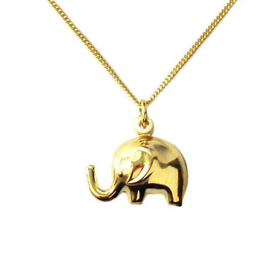 """Wholesale Gold Over Sterling Silver Elephant Charm Necklace - 16"""""""