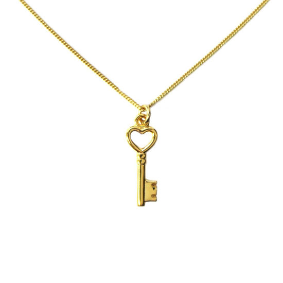 """Wholesale Gold Over Sterling Silver Heart Key Charm Necklace -16"""""""