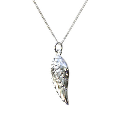"""Wholesale Sterling Silver Angel Wing Charm Necklace - 16"""""""