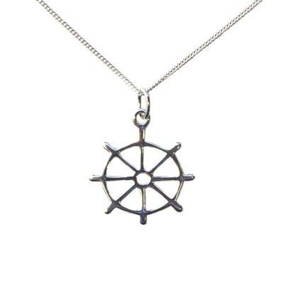Wholesale Sterling Silver Nautical Boat Wheel Charm Necklace - 16""