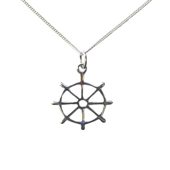 """Wholesale Sterling Silver Nautical Boat Wheel Charm Necklace - 16"""""""