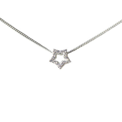 Wholesale Sterling Silver CZ Stone Star Charm Necklace -16""