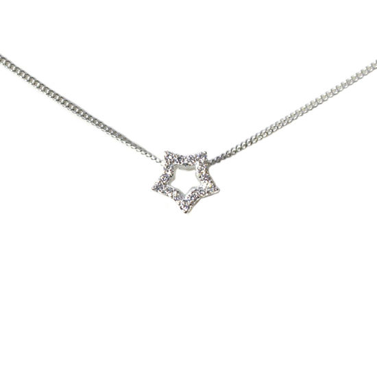 """Wholesale Sterling Silver CZ Stone Star Charm Necklace -16"""""""