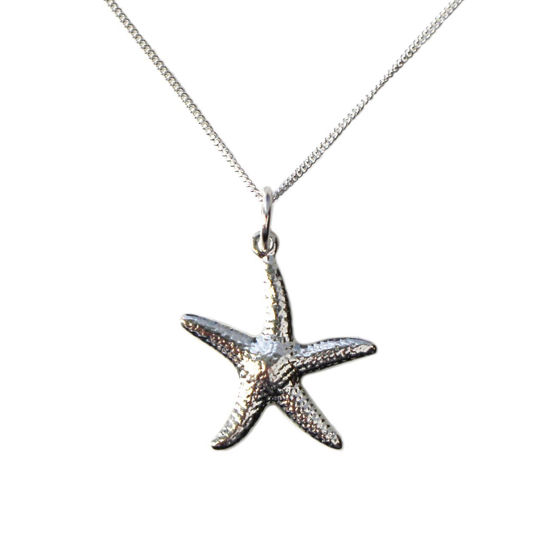 Wholesale Sterling Silver Starfish Charm Necklace -16""
