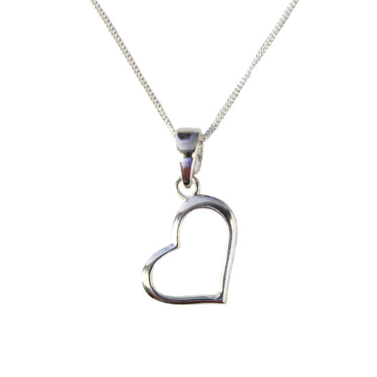 """Wholesale Sterling Silver Classic Heart Charm Necklace - 16"""""""