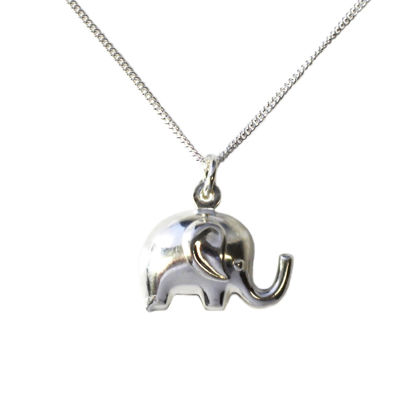 Wholesale Sterling Silver Elephant Charm Necklace - 16""