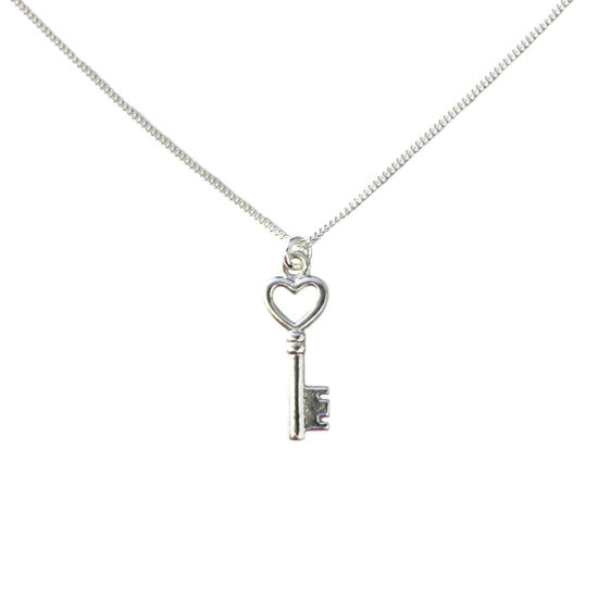 Wholesale Sterling Silver Heart Key Charm Necklace -16""