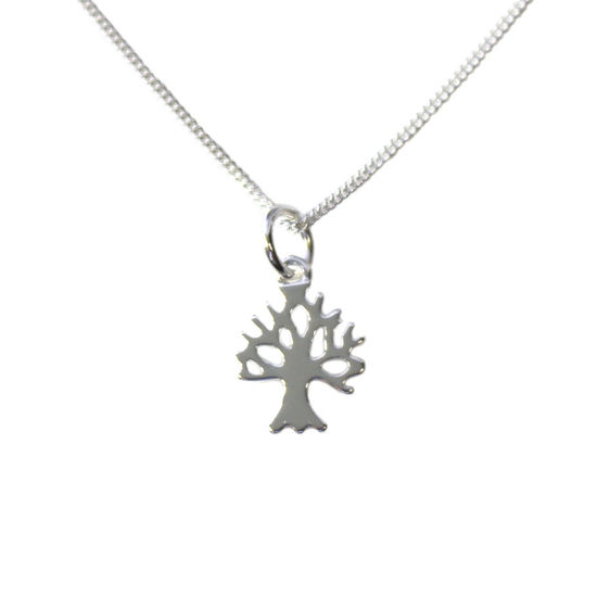 Wholesale Sterling Silver Tree Silhouette Charm Necklace -16""