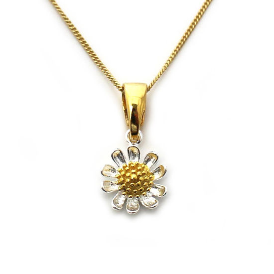 Wholesale Gold Over Sterling Silver Two Tone Sunflower Charm Necklace