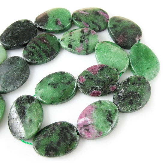Wholesale Ruby Zoisite Beads - 20x16mm Smooth Wavy Oval (Sold Per Strand)