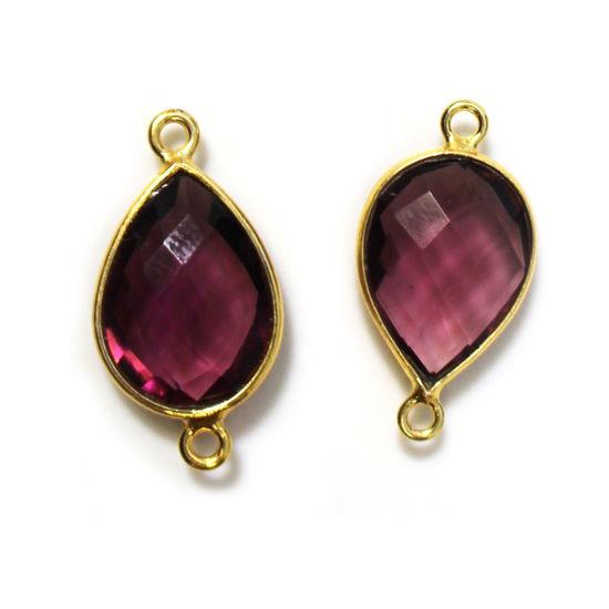 Gold Over Sterling Silver Bezel Gemstone Links - 10x14mm Faceted Pear Shape - Pink Amethyst Quartz