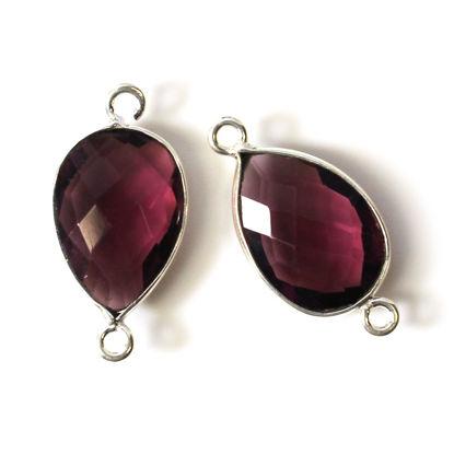 Wholesale Sterling Silver Bezel Gemstone Links - Faceted Pear Shape - Pink Amethyst Quartz