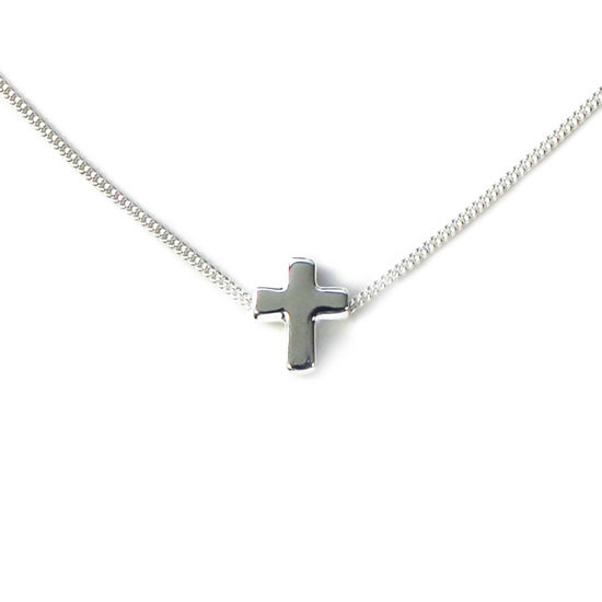 Wholesale Sterling Silver Tiny Cross Charm Necklace - 16""