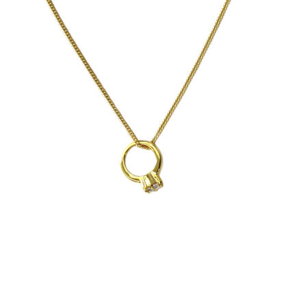 Wholesale Gold Over Sterling Silver Promise Ring Charm Necklace - 16""