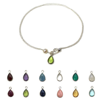 Wholesale Sterling Silver Adjustable Birthstone Bracelet with Freshwater Pearl Charm