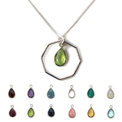 Wholesale Sterling Silver Natural Teardrop Birthstone Geometric Necklace - 16""