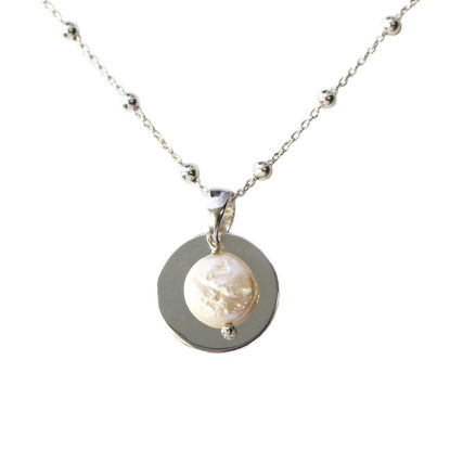 Wholesale Sterling Silver Disc and Freshwater Coin Pearl Pendant on Satellite Chain Necklace - 20""
