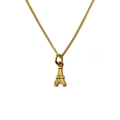Wholesale Gold Over Sterling Silver Eiffel Tower Charm Necklace - 16""