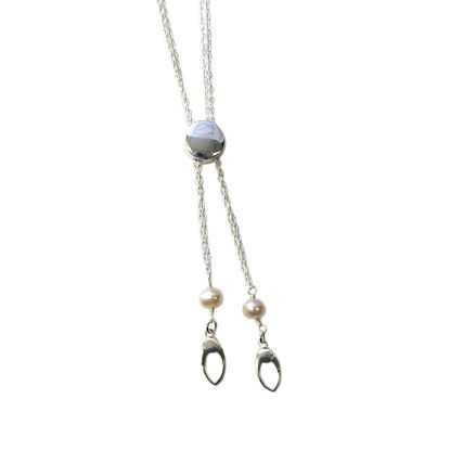 """Wholesale Sterling Silver Circle Bead and Freshwater Pearl Interchangeable Charm Long Necklace - 36"""""""""""