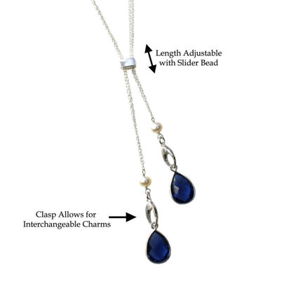 """Wholesale Sterling Silver Rectangle Bead and Freshwater Pearl Interchangeable Charm Long Necklace - 36"""""""
