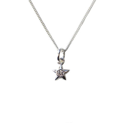 Wholesale Sterling Silver Tiny CZ Stone Star Charm Necklace - 16""