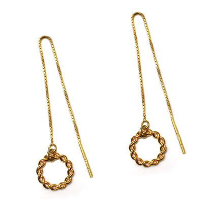 Wholesale Gold Over Sterling Silver Twisted Ring Charm Threader Earrings (Sold Per Pair)