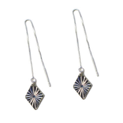 Wholesale Sterling Silver Textured Diamond Charm Threader Earrings (Sold Per Pair)