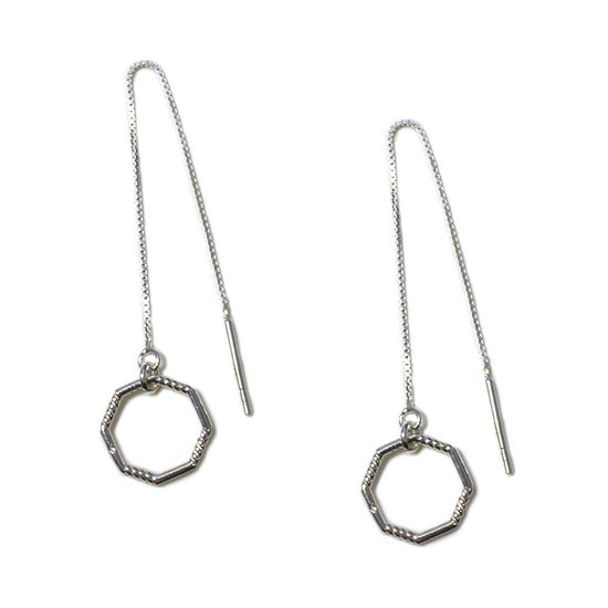 Wholesale Sterling Silver Octagon Charm Threader Earrings (Sold Per Pair)