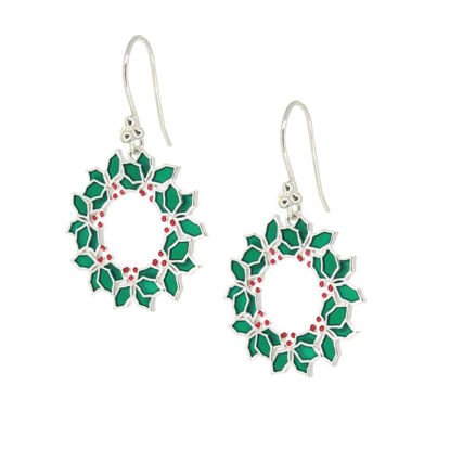Wholesale Sterling Silver Christmas Wreath Earrings (Sold Per Pair)