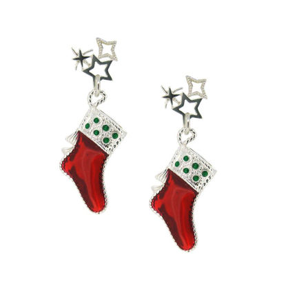 Wholesale Sterling Silver Christmas Stocking Earrings (Sold Per Pair)