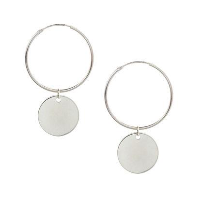 Wholesale Sterling Silver Shiny Disc Hoop Earrings (Sold Per Pair)