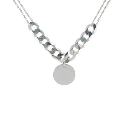 Wholesale Sterling Silver Disc and Cable Chain Necklace - 20""