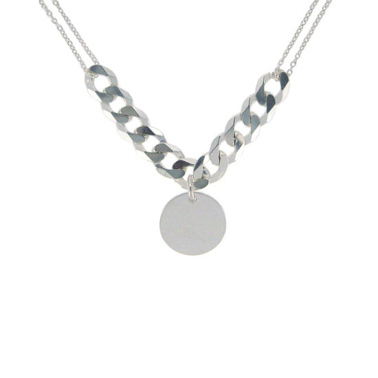 """Wholesale Sterling Silver Disc and Cable Chain Necklace - 20"""""""