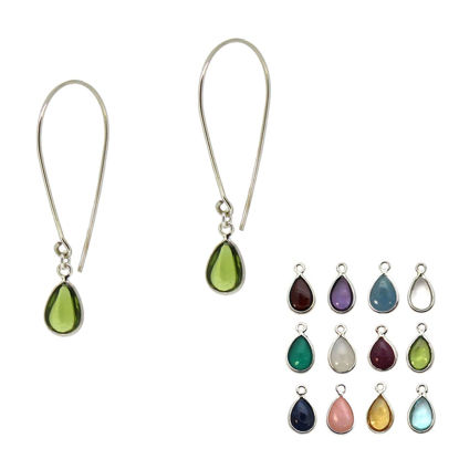 Wholesale Sterling Silver Natural Birthstone Teardrop Earrings (Sold Per Pair)
