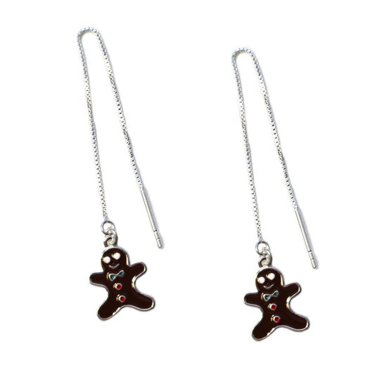 Wholesale Sterling Silver Gingerbread Man Christmas Charm Threader Earrings (Sold Per Pair)