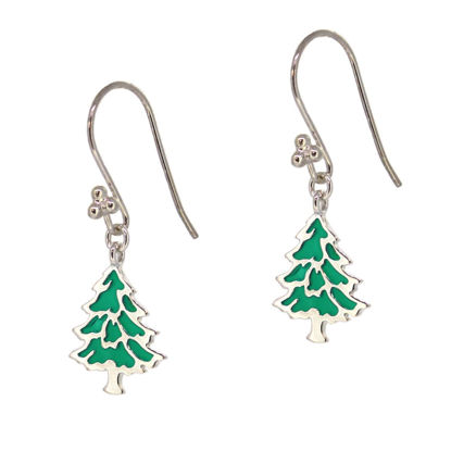 Wholesale Sterling Silver Christmas Tree Earrings (Sold Per Pair)