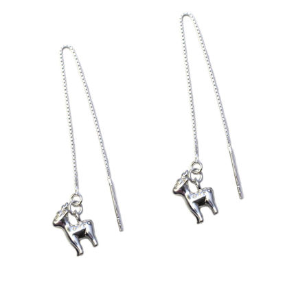 Wholesale Sterling Silver Christmas Reindeer Charm Threader Earrings (Sold Per Pair)