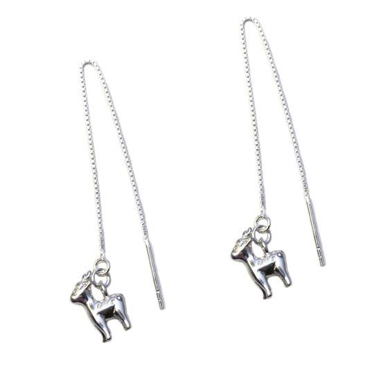 Wholesale Sterling Silver Christmas Reindeer Charm Threader Earrings (Sold Per Pair)