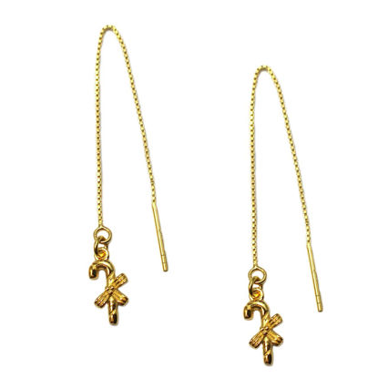 Wholesale Gold Over Sterling Silver Christmas Candy Cane Threader Earrings (Sold Per Pair)