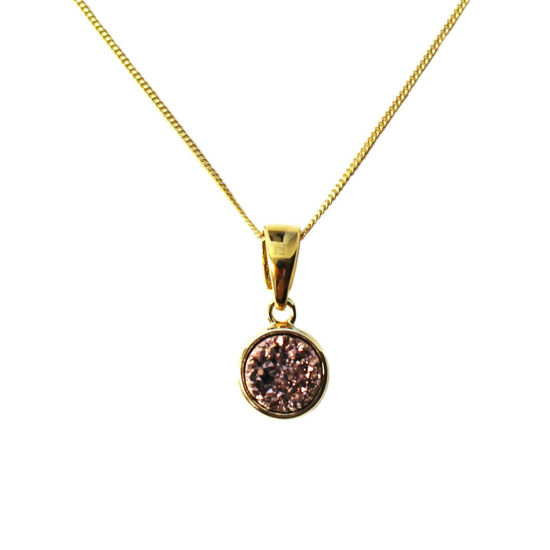 Wholesale Gold Over Sterling Silver Round Titanium Druzy Pendant Necklace - 16""