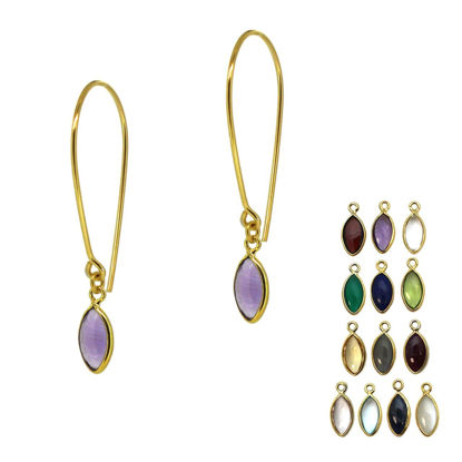 Wholesale Gold Over Sterling Silver Natural Birthstone Marquise Earrings (Sold Per Pair)
