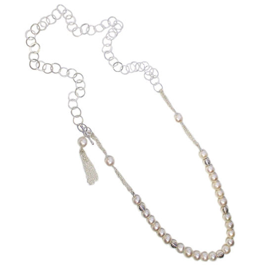 """Wholesale Sterling Silver Fresh Water Pearl and Round Chain Adjustable Long Necklace - 36"""""""