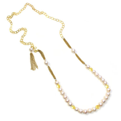 Wholesale Gold Over Sterling Silver Fresh Water Pearl, Citrine, and Oval Chain Adjustable Long Necklace - 36""