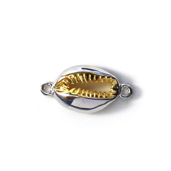 Wholesale Sterling Silver Two Tone Small Cowrie Shell Connector Pendant (1 pc)