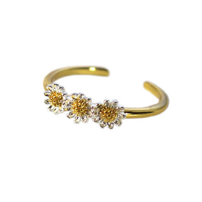 Wholesale Gold Over Sterling Silver Two Tone Triple Sunflower Ring - Adjustable (1 piece)