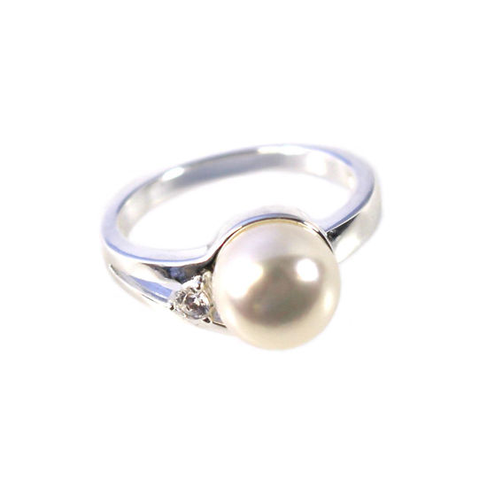 Wholesale 925 Sterling Silver Single CZ Stone and Big Freshwater Pearl Ring (1 piece)